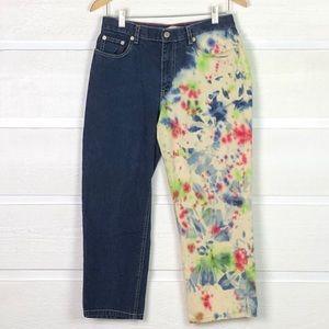 TOMMY HILFIGER Tie Dye Paint Splattered Crop Jeans